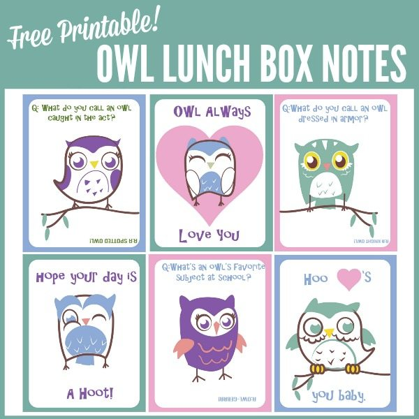 Free Printable Owl Lunch Box Notes are a fun way to add a little extra love to your child's lunch box!