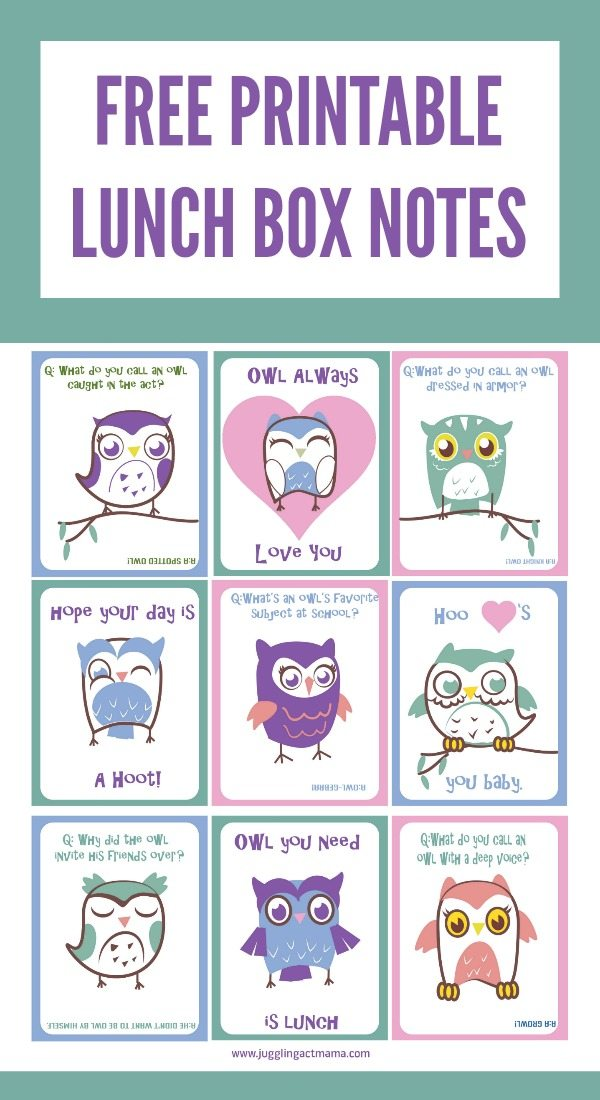 Free Printable Owl Lunch Box Notes