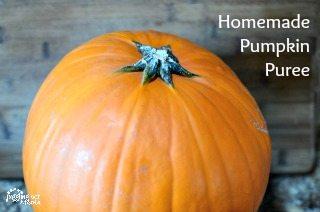 Horizontal image of a small pumpkin used to make homemade pumpkin puree.