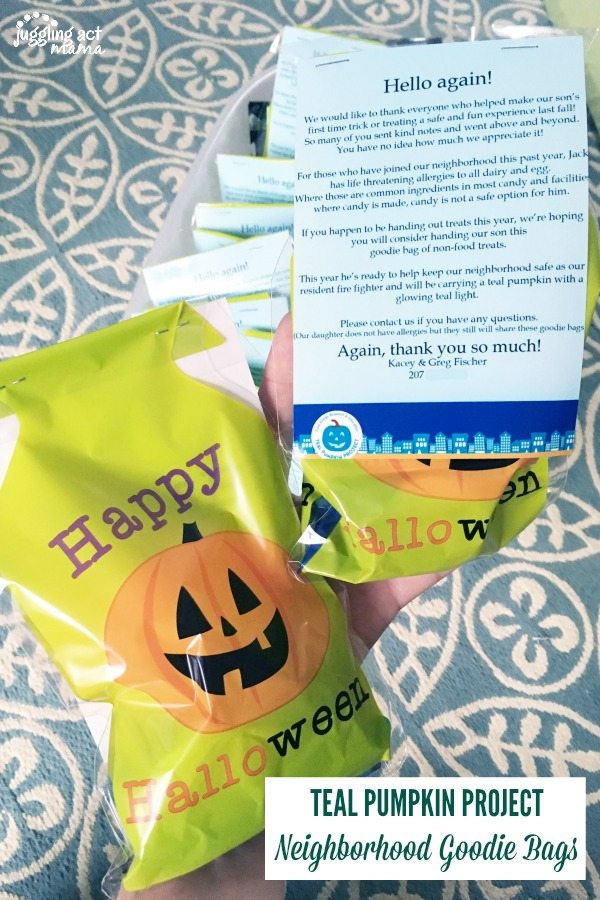 Hand out these neighborhood goodie bags along with a letter describing your child's food allergy and the purpose of the Teal Pumpkin Project.