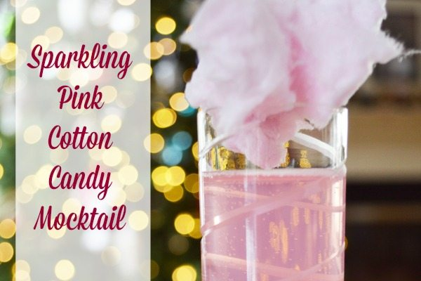 Sparkling Pink Cotton Candy Mocktail for kid friendly parties