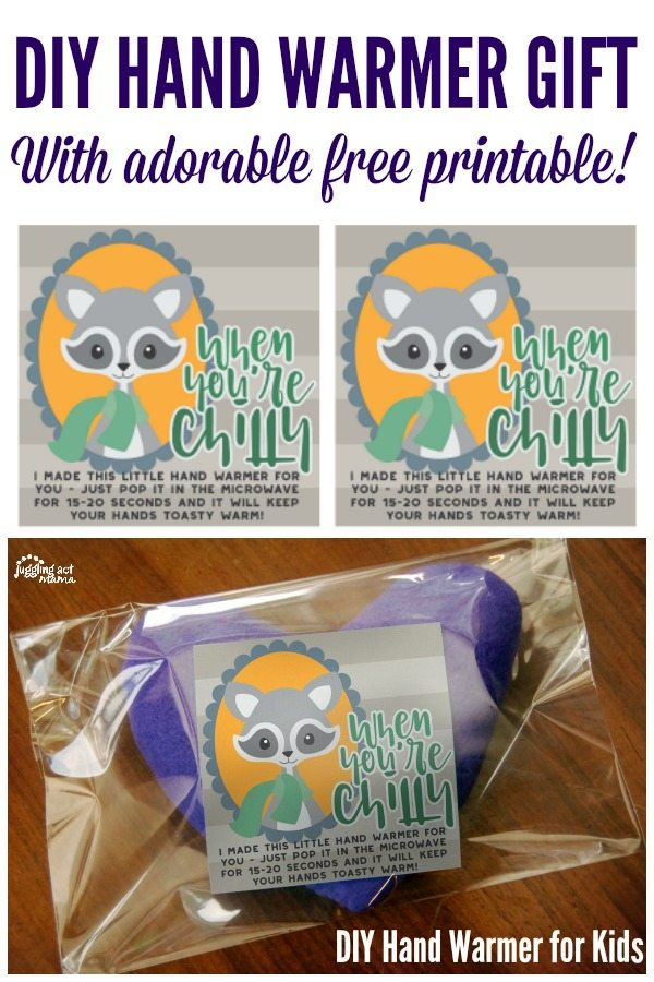 DIY Hand Warmers for Kids with free printable for gifting