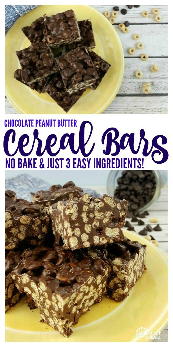 Our No Bake Chocolate Peanut Butter Cereal Bars have just 3 easy ingredients!#EarnWithBoxTops #CollectiveBias #ad