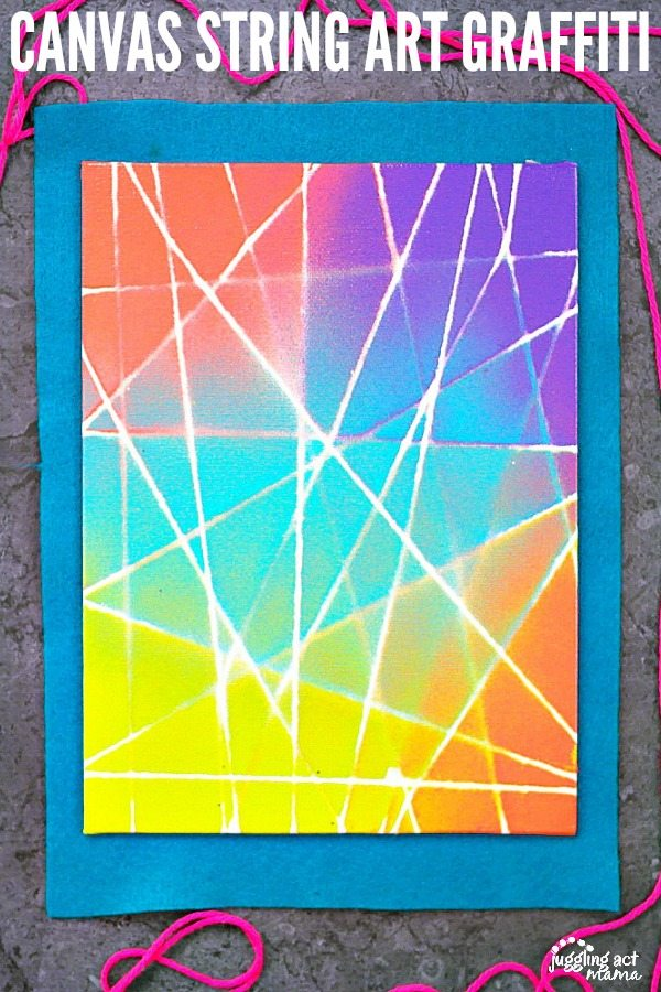 String Art on Canvas can be done with spray paint or washable paint daubers. We've included a full tutorial along with alternate project ideas, with tips for young children This is fun for teens, too. via @jugglingactmama