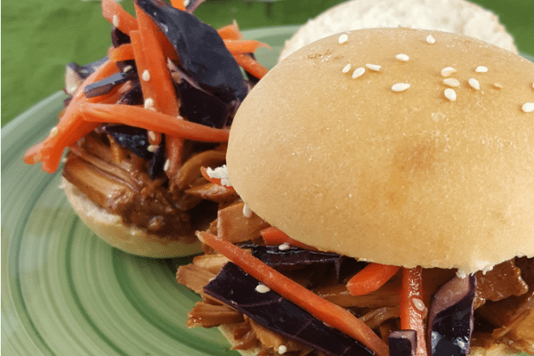 Slow Cooker Pulled Pork Sliders + Asian Slaw - Rhodes