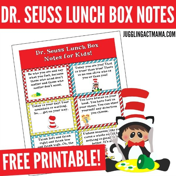 photograph relating to Dr Seuss Printable titled Exciting Dr Seuss Lunch Box Notes - Juggling Act Mama