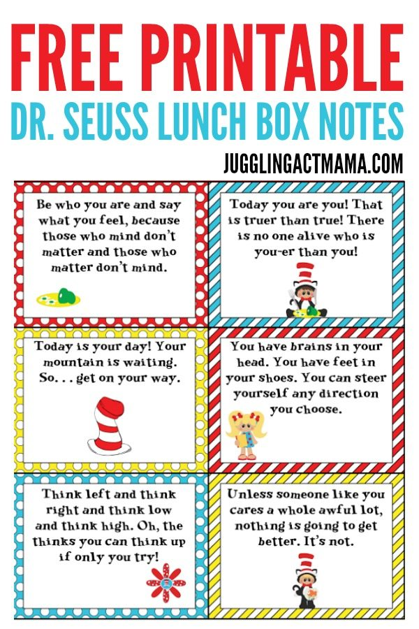 photograph about Dr Seuss Printable known as Exciting Dr Seuss Lunch Box Notes - Juggling Act Mama