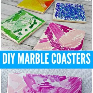 DIY MARBLE COASTERS #DIYgif #HomemadeGifts #SharpieCrafts #JugglingActMama