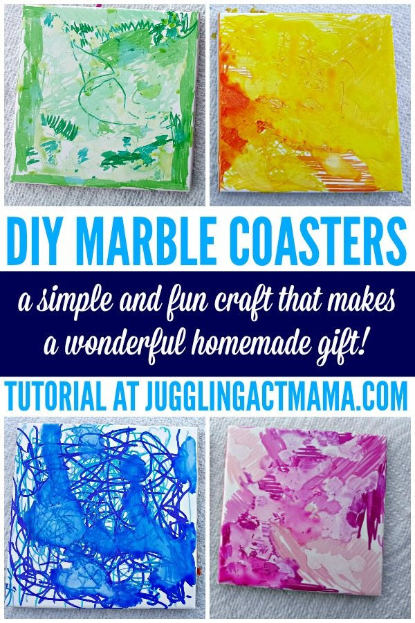 DIY MARBLE COASTERS #DIYgift #Sharpies