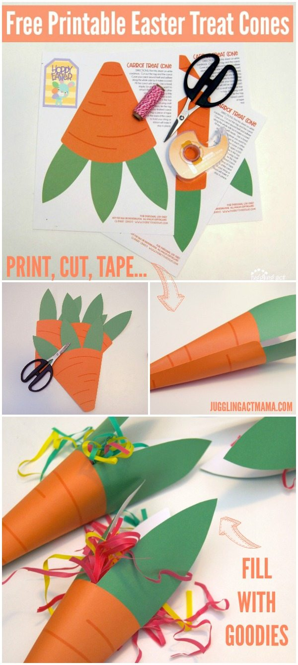 Free Printable Easter Treat Carrot Cones are an adorable additon to your Easter Baskets #JugglingActMama