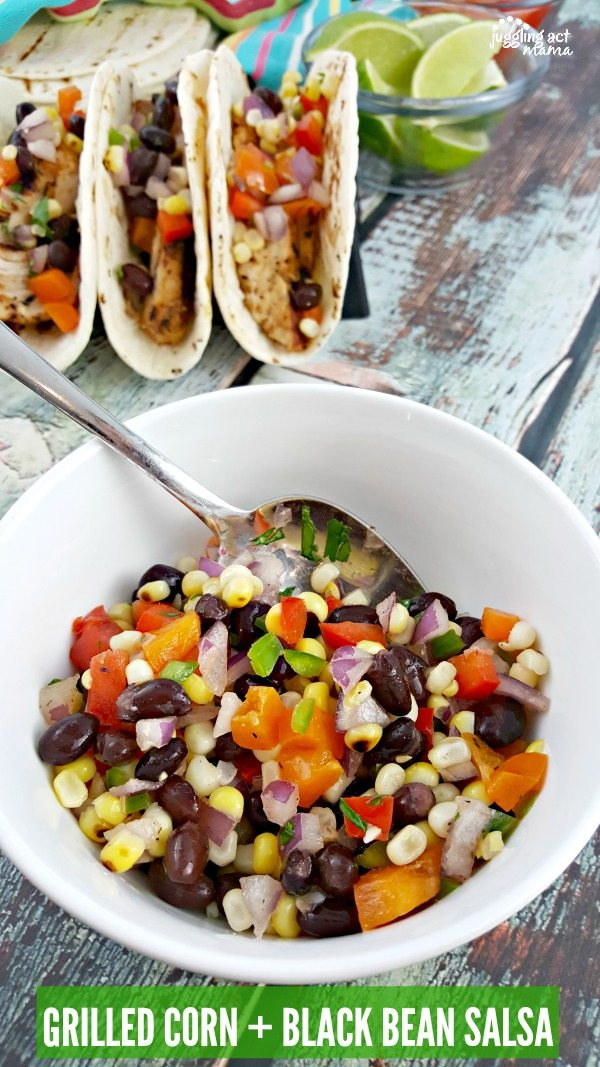 GRILLED CORN BLACK BEAN SALSA #GrillIt #ad #Giveaway #HamiltonBeach