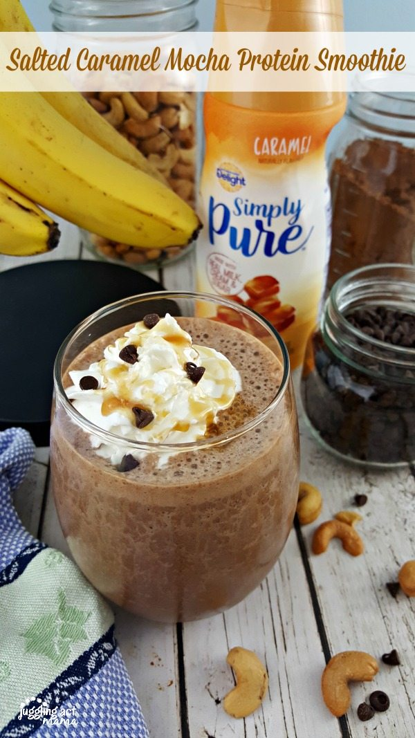 Salted Caramel Mocha Protein Smoothie #ad #SilkandSimplyPureCreamers