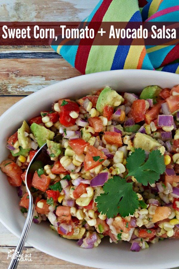 Sweet Corn, Tomato + Avocado Salsa Recipe #ad #IC #SunshineSweetCorn