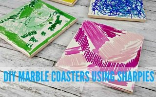 DIY Marble Coasters Using Sharpies
