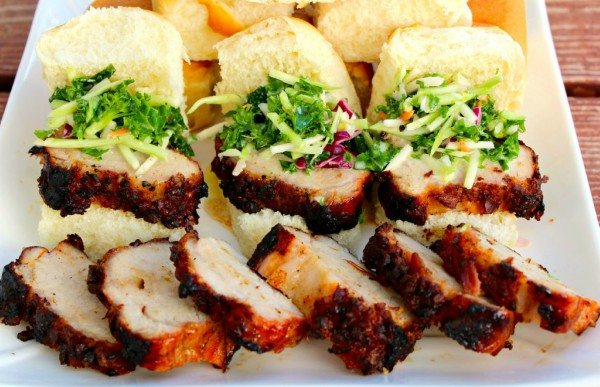 Pork Loin Sliders and Broccoli Kale Citrus Slaw