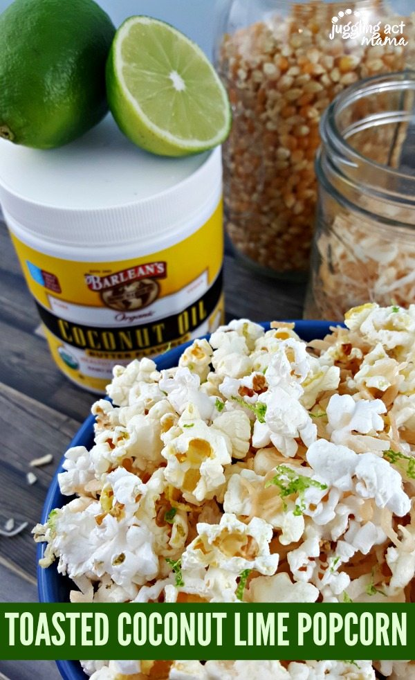 TOASTED COCONUT LIME POPCORN #AD #POPWITHBARLEANS