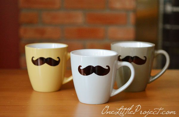 Sharpie Mustache Mugs by One Little Project