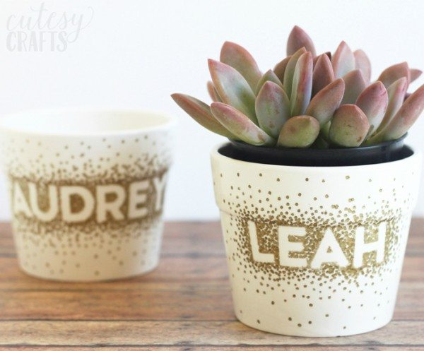 sharpie dot flower pots by