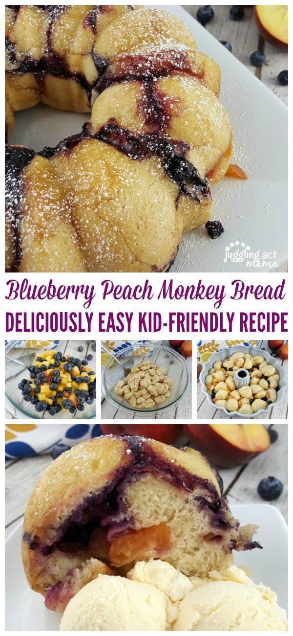 Blueberry Peach Monkey Bread - A DELICIOUSLY EASY KID-FRIENDLY RECIPE #ad #RhodesBread