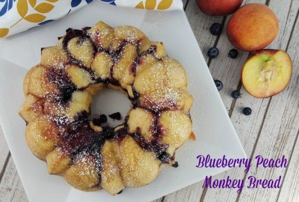 Blueberry Peach Easy Monkey Bread #RhodesBread #ad