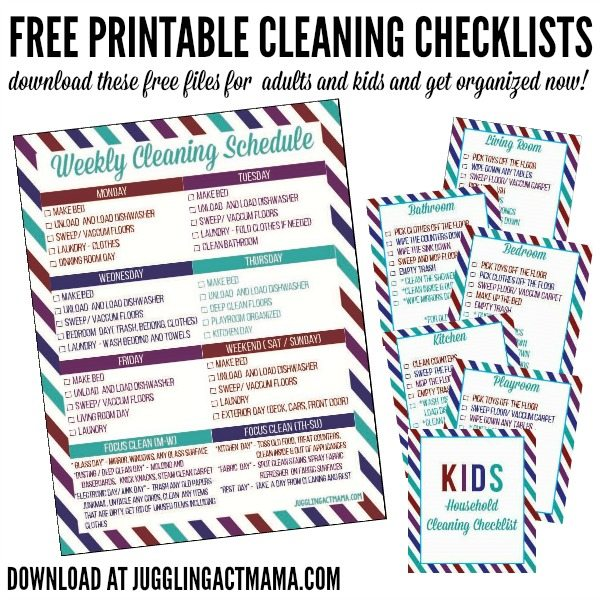 You can get more done with Free Cleaning Checklists Printable files - download at jugglingactmama.com