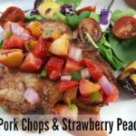 Grilled Pork Chops + Strawberry Peach Salsa