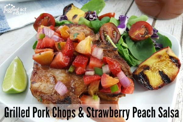 Grilled BBQ Pork Chops + Strawberry Peach Salsa #ad #Smithfield