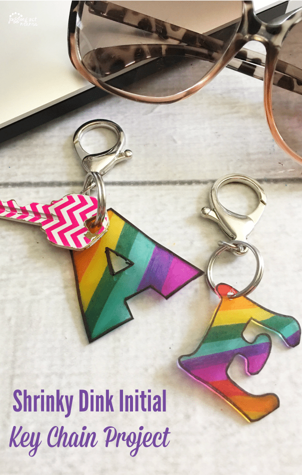 Our Shrinky Dink Initial Key Chain Project is a fun rainy day project and makes a sweet little gift, too! #BoredomBuster #DIYgift