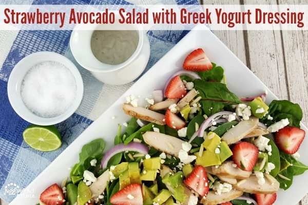 Strawberry Avocado Salad with Greek Yogurt Dressing