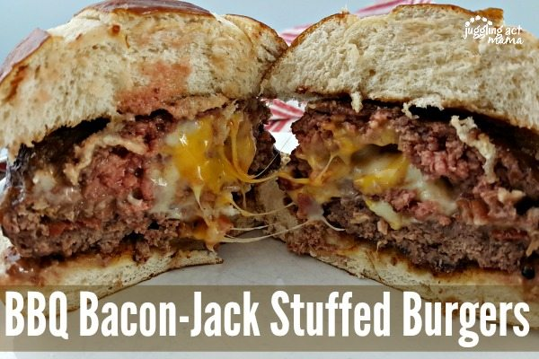 BBQ Bacon-Jack Stuffed Burgers #AD