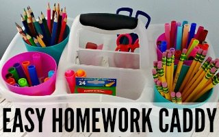 Easy Homework Caddy + Giveaway