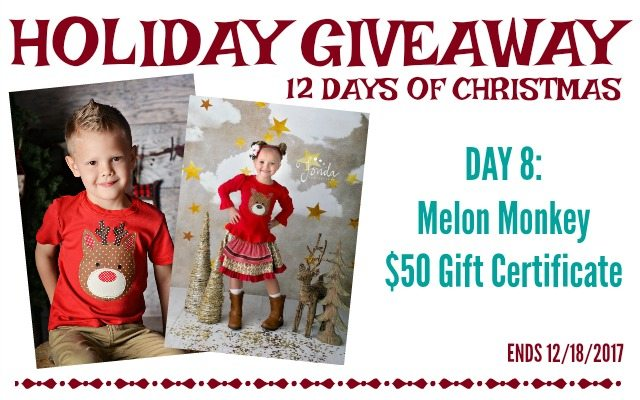 Melon Monkey Holiday Giveaway, ends 12-18-2017