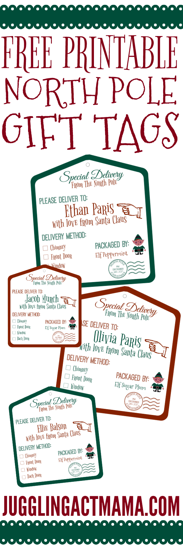 photograph about Free Printable Santa Gift Tags titled North Pole Printable Reward Tags - Juggling Act Mama