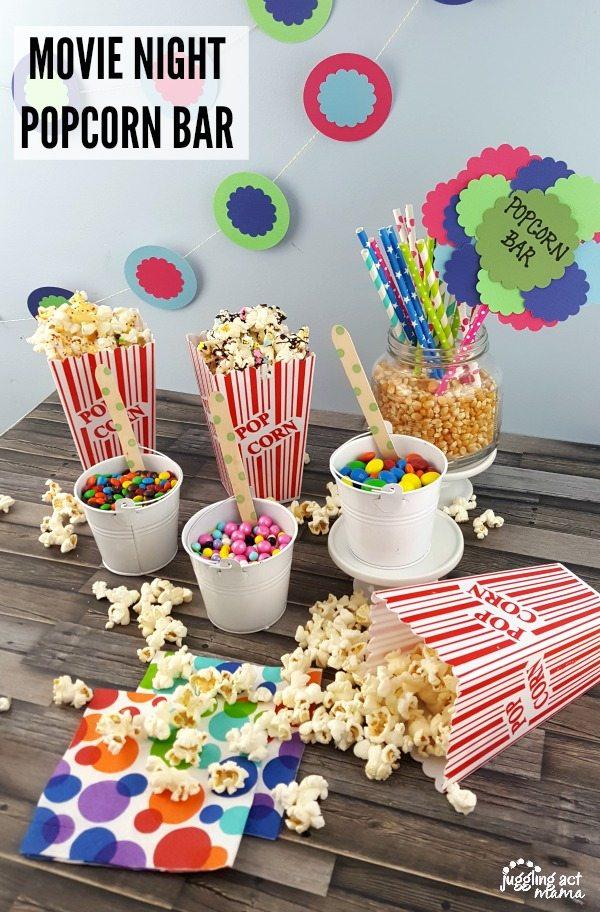 Put together a fun popcorn bar at your next movie night