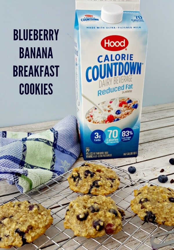 BLUEBERRY BANANA BREAKFAST COOKIES MAKE A DELICIOUS BREAKFAST OR SNACK TREATH THAT'S HEALTHY! PLUS THEY'RE SIMPLE TO MAKE! GET THE BREAKFAST COOKIE RECIPE #AD #IC
