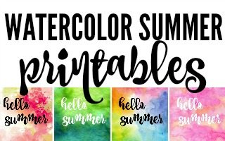 Watercolor Hello Summer Printables