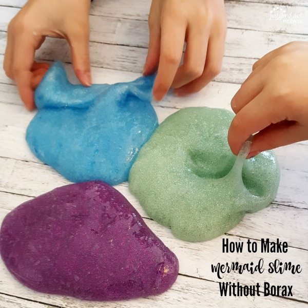 How to Make Mermaid-inspiredDIY Slime Without Borax tutorial - children's hands play with blue, seafoam green and purple glittery slime