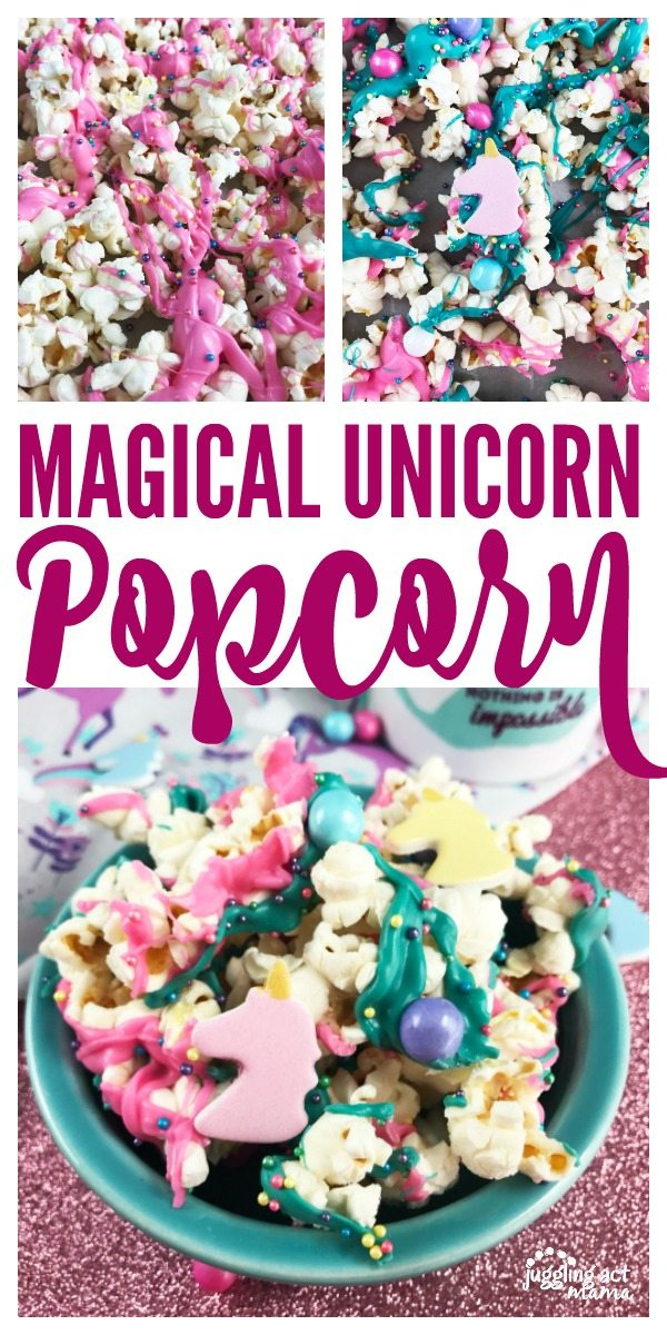 Magical Unicorn Popcorn for Parties - Popcorn with pink and teal colored chocolate, unicorn shapes, sixlet candies and sprinkles in a teal bowl on top of a glittery pink surface.