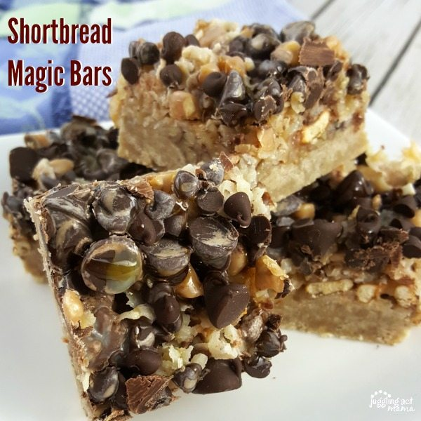 Rich shortbread magic bars topped with coconut, walnuts, chocolate and more!