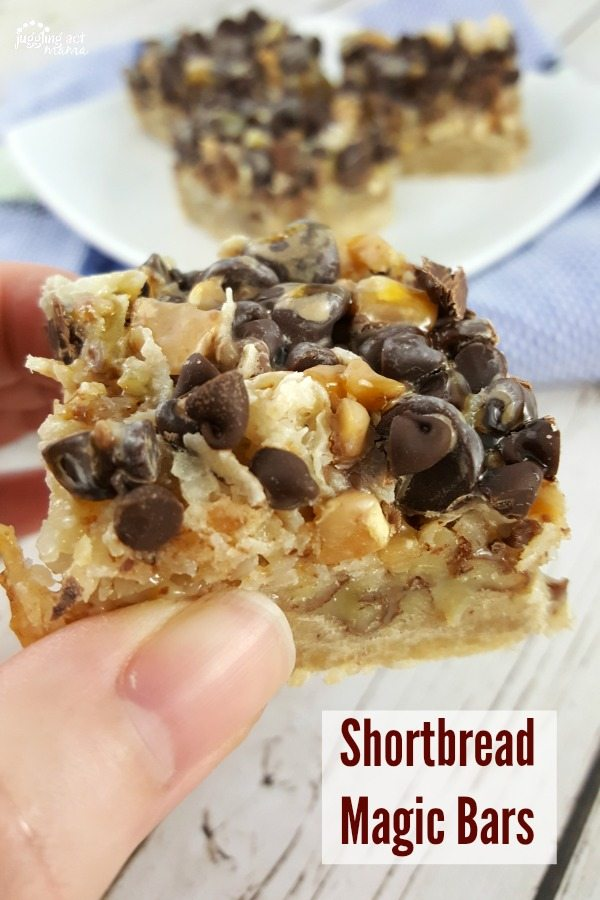 Shortbread Magic Bars with toffee chips