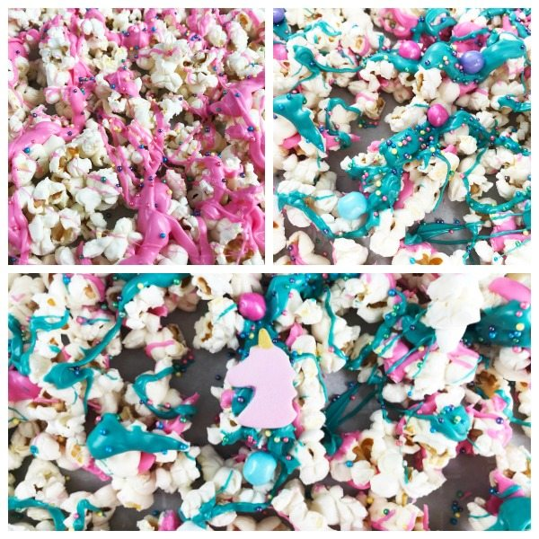 Pink, blue and pink and blue unicorn popcorn