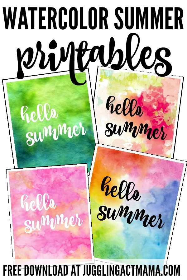 Watercolor Hello Summer Printables - Download for free at JugglingActMama.com #FreePrintable #Summer #Watercolor #WallArt
