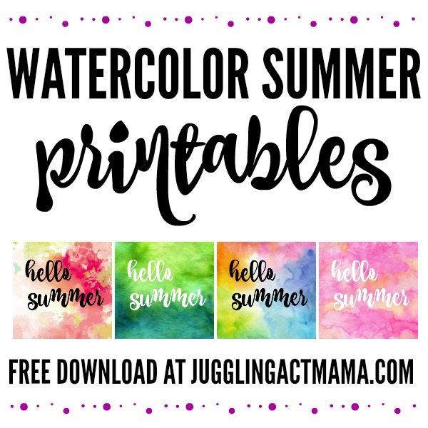Watercolor Hello Summer Free Printbles