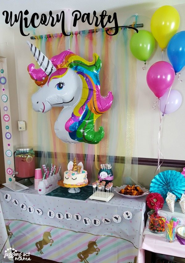 A Dessert Table At Unicorn Party Featuring Giant Balloon Streamers Pink Lemonade