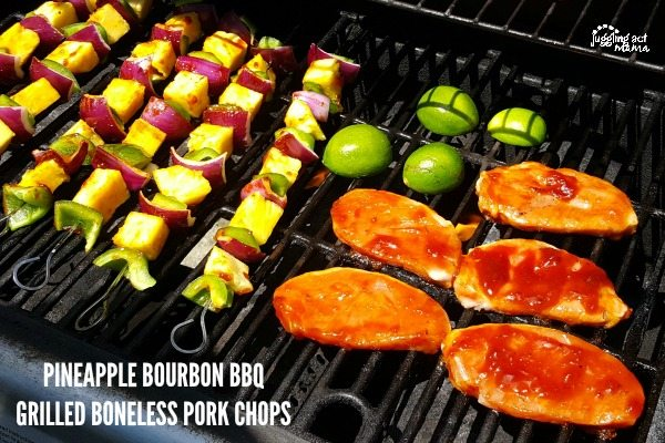 PINEAPPLE BOURBON BBQ GRILLED BONELESS PORK CHOPS #AD