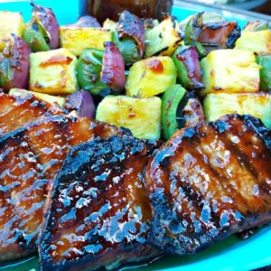 Pineapple Bourbon BBQ Grilled Boneless Pork Chops