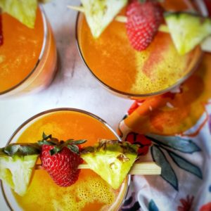 Pineapple Cocktail with strawberry and mango