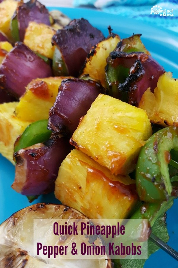 Quick Pineapple Pepper & Onion Kabobs
