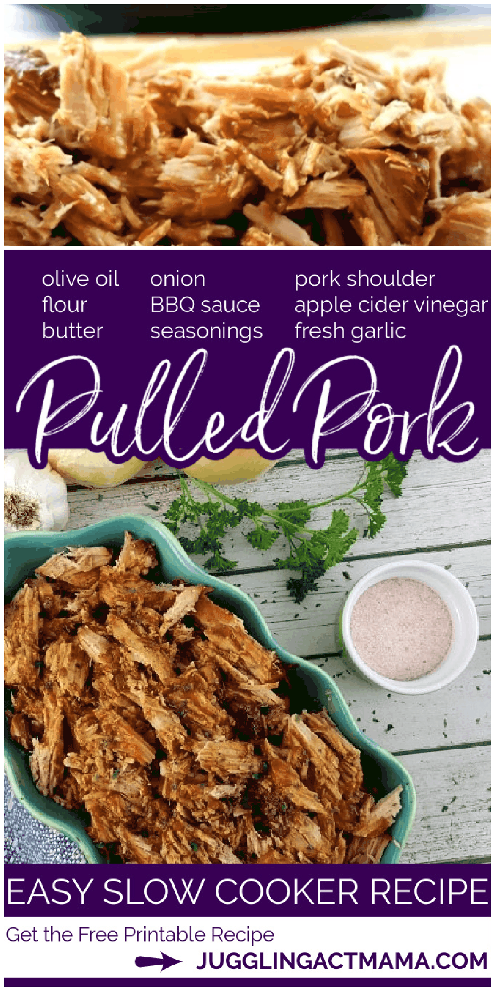 My classic Slow Cooker Pulled Pork Recipe is perfect for once a month or once a week cooking. I have tons of tips on how to freeze, what to serve with pulled pork and much more in this post. It is a versatile recipe with simple ingredients with a tried and true method for cooking pulled pork in a slow cooker! via @jugglingactmama
