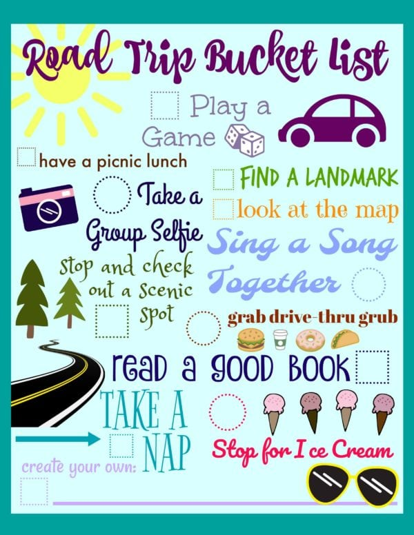 Road Trip Ideas Printable Bucket List - Juggling Act Mama